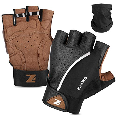 Zacro Cycling Gloves, Half Finger Biking Glove MTB DH Road Bicycle Gloves, Winter Light Anti-Slip Shock-Absorbing Unisex Biking Gloves for Men/Women L