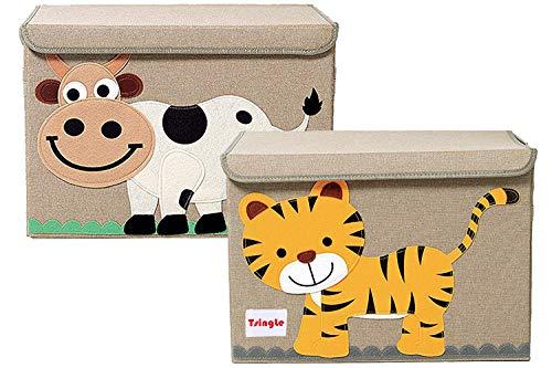 TsingLe - Cajas de almacenamiento para juguetes con tapa, tamaño grande, para guardar juguetes, libros, ropa de cama, 36 x 52 x 35 cm, 65 L (tigre y vaca)