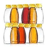 DilaBee Botellas de miel de plástico vacías Frascos de miel de plástico transparente Recipientes de miel de plástico de grado alimenticio Recarga de plástico Botella de miel con tapas abatibles