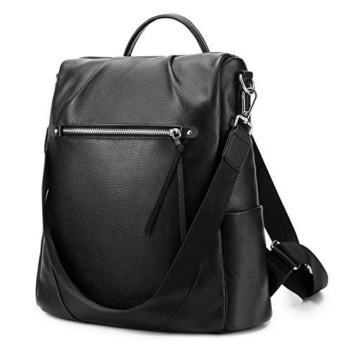 Kattee Damen Rucksack Elegant Echt Leder Schultaschen Anti-Diebstahl Tagesrucksack Schultertaschen