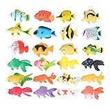 STOBOK Mini Figura de peces doceanos tropicales Juguetes marinos realistas de peces tropicales, 24 piezas
