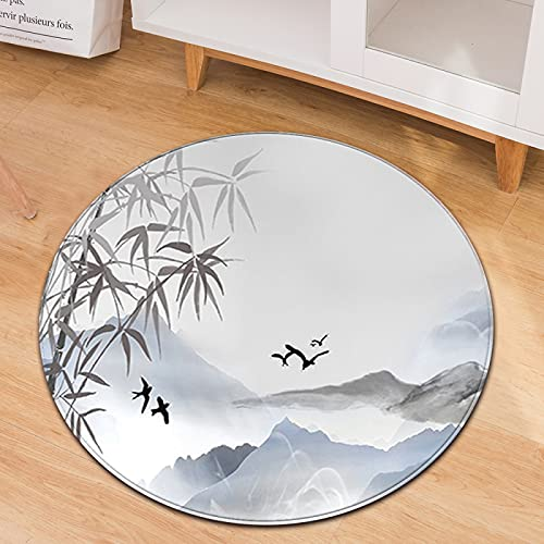Oukeep Landscape Map Round Carpet Non-Slip Thick Wash Material Home Children Crawling Mat Balcony Rocking Chair Round Carpet