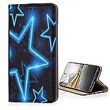 KX-Mobile Hülle für ZTE Blade A5 2020 Handyhülle Schutzhülle Klapphülle Smart Magnet mit Motiv 1576 Sterne Blau Schwarz