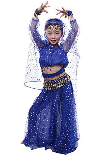 Astage Ragazza Vestito Danza Bambina Elegante Costume per Danza del Ventre Royal Blue L