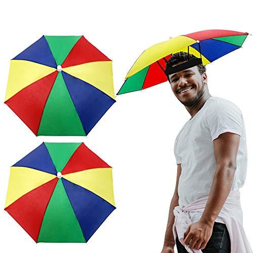 VINFUTUR 2pcs Sombrero Paraguas Plegable Sombrilla para Pesza Playa Sombrilla Parasol de Cabeza Accesorios de Disfraces Sombrillas (Kit A)