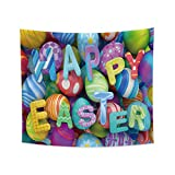 Renaiss 33.9x27.6 Inches Happy Easter Tapestry Happy Easter Colorful Eggs Letter Hippie Wall Hanging Festival Party Aesthetic Art Printing Blanket for Bedroom Living Room Dorm Wall Decor