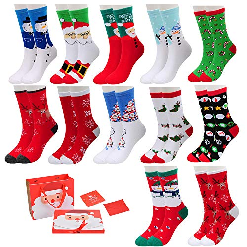 Litthing Calcetines de Navidad Calcetines de Invierno Calcetines Térmicos de Navidad 3/6/12 Pares Calcetines de Navidad Regalode Calcetines para Niña Regalo Navidad(12 Pares Multicolor 1)