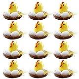 12 Piezas Mini Juego de Pollitos de Pascua Pollitos de Plástico Pollitos de Pascua Amarillos Pollitos Lindos Huevos de Pascua Huevos de Pascua con Decoración de Caja Nido Pollitos para Bebés