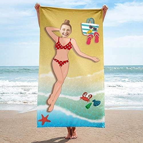 QWAS Toalla de playa con diseño de sirena, bonita toalla de playa, ideal para playa y piscina, microfibra (2,70 cm x 140 cm)