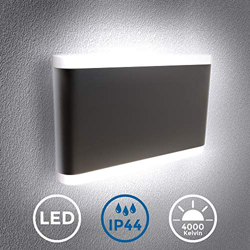 B.K.Licht I LED Wandleuchte I Außenleuchte inkl. 7W LED Platine I schwarze Wandlampe I IP44 I 4.000K neutralweiß I Metall I Innen und Außen