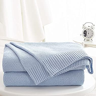 Blue Cotton Cable Knit Sweater Throw Blanket for Couch Sofa Chair Home Decorative, 50 x 60 Inch Gift a Washing Bag
