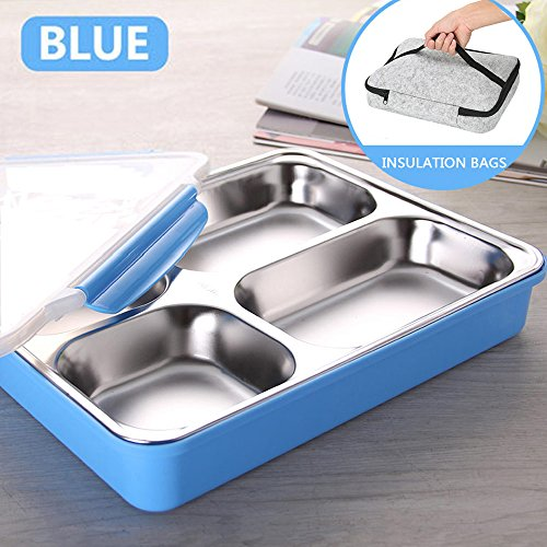 Large Stainless Steel Adults Lunch Box Set Leak-Proof Food Container with Portable Insulation Bags for Outdoor/Picnic/School/Office, Blue
