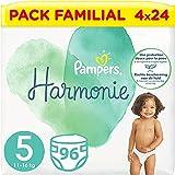 Pampers Couches Harmonie Taille 5 (11-16kg) 0% de compromis, 100% d'absorption, Ingrédients d'Origine Végétale, Hypoallergéniques, 96 Couches (Pack Familial)