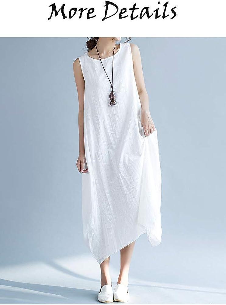 Minibee Women's Casual Dress Sleeveless Cotton Linen Maxi Dress Loose Summer Beach Sun Dress with Pockets