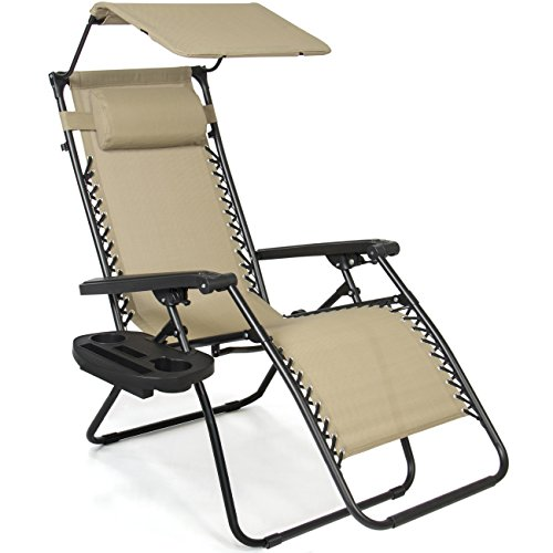 Best Choice Products Folding Steel Mesh Zero Gravity Recliner Lounge Chair w/Adjustable Canopy Shade...