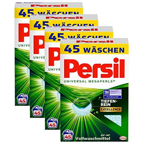 Persil Universal Megaperls, Vollwaschmittel, 180 (4 x 45) Waschladungen, kraftvolle Fleckenentfernung für hygienisch reine Wäsche