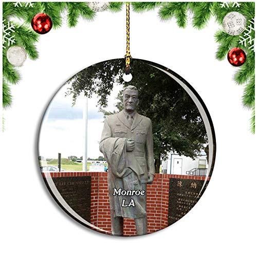 Weekino Monroe Military Museum Louisiana USA Christmas Ornament Xmas Tree Decoration Hanging Pendant Travel Souvenir Collection Double Sided Porcelain 2.85 Inch