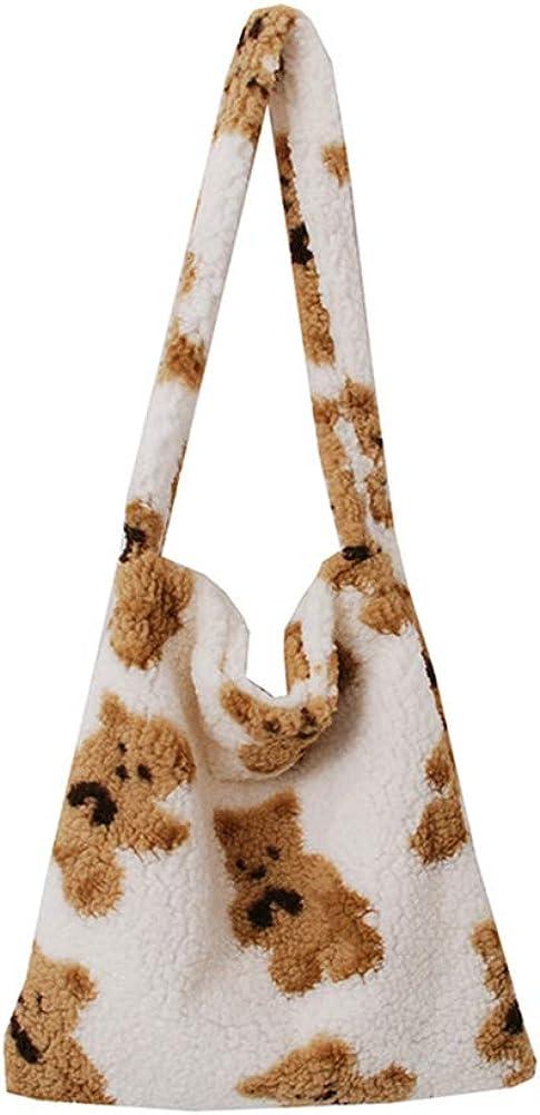 Women Fashion Cartoon Bear Plush Handbags Shoulder Underarm Totes Bags