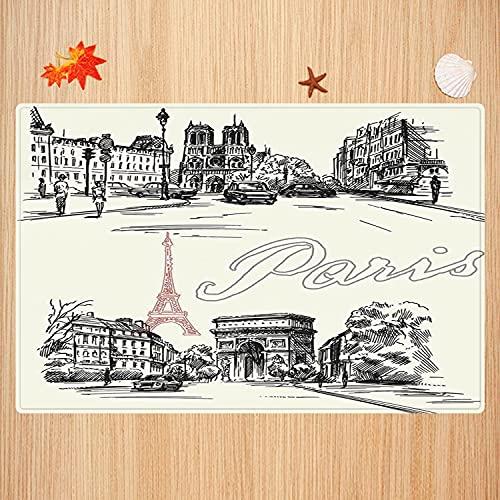 Tapis de Bain antidérapant,Décor de Paris, Arch of Triumph Restaurant Monument Old Fashioned Paris Street Sketch Styl Tapis Absorbant Tapis de Sol Microfibre Super Doux 50 x 80cm