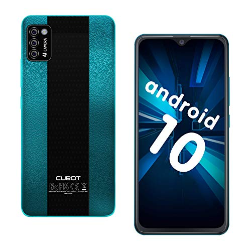 CUBOT Note 7 Smartphone ohne Vertrag, 4G Handy, 5.5″HD Display, Android 10, 3100mAh Akku, DREI Kameras, 2GB/16GB, 128GB erweitbar, Dual SIM, Deutsche Version, NFC, Face ID, Grün