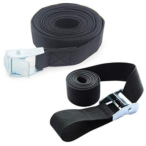 Pack de 2 correas de fijación con hebilla adecuadas para atar al techo kayaks, canoas, elementos de transporte y otros tipos de carga., negro