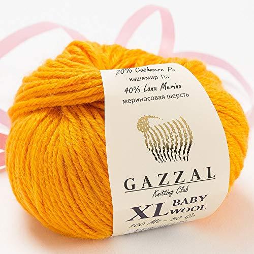 3 Pack (Ball) Gazzal Baby Wool XL Total 5.28 Oz / 328 Yrds, Each Ball 1.76 Oz (50g) / 109 Yrds (100m) Super Soft, Medium-Worsted Yarn, 40% Lana Merino 20% Cashmere Type Polyamide, Orange - 837