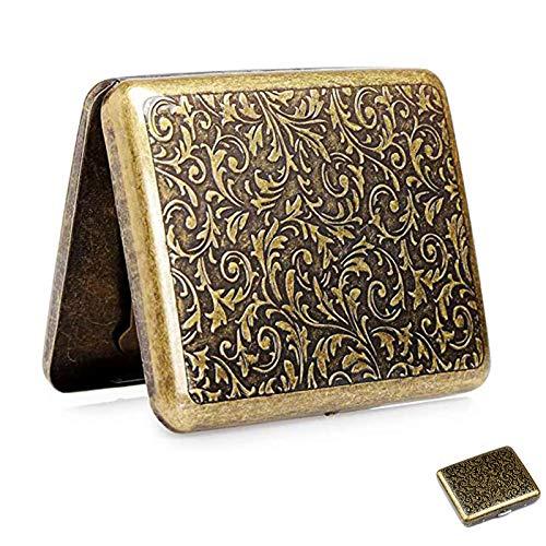 Cigarette Case Vintage, Portatil Caja de Cigarrillos Metal para Cigarrillos Tabaco Cigarrillos Pitilleras para Hombre y Mujer, para 20 Cigarrillos Elegante y Resistente a la Humedad con Caja de Regalo