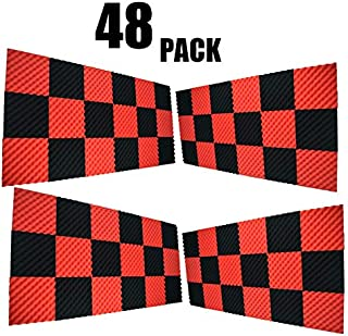 48PACK BLACK/RED Acoustic Foam Egg Studio Sound insulation Treatment Absorption
