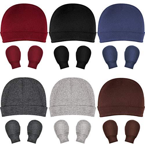 6 Set Baby Hat Baby Cap and Mitten Set for Baby 0-6 Months (Dark Series)