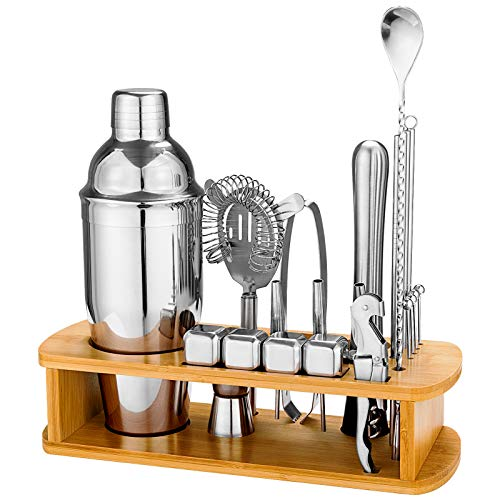 25 Piece Cocktail Shaker Set with Bamboo Stand,Stainless Steel Bartender Kit Bar Tools Set for Christmas Gift,Home, Bars, Parties and Traveling (Silver)