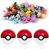 qwaszx sqzkzc-Set de 3 bolas Poké rouges et 48 mini figuras Pokémon aléatoires - set cadeau pour fans de Pokémon conjunto de bolas Pokémon en rouge et blanc et figurines de hauteur entre 1 et 3 cm…