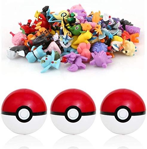 qwaszx sqzkzc-Set de 3 bolas Poké rouges et 48 mini figuras Pokémon aléatoires - set cadeau pour fans de Pokémon conjunto de bolas Pokémon en rouge et blanc et figurines de hauteur entre 1 et