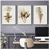 cuadros decoracion salon Nordic Golden Plant Hojas y flores Imágenes artísticas de pared Pintura en lienzo Cuadros Carteles e impresiones para la decoración de la sala de estar 19.7x27.6in (50x70cm)