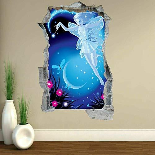 Wall Sticker Fairy Girl Pink Flowers Butterflies Blue Night Wall Art Stickers Mural Decal-60x90cm