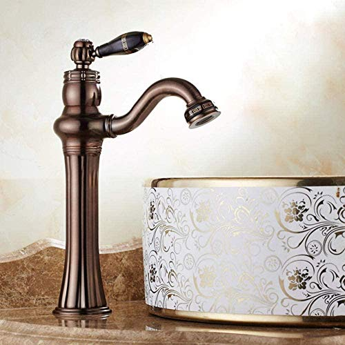MMYYY Faucet Fully Brass Basin Antique Brass Faucet Art Basin Bathroom Faucet Hot and Cold Water Antique Faucet Mounted Bridge Crane