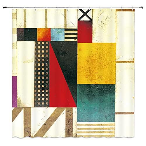 XCBN Patrón Azul Pintura Moderna Abstracta Mondrian Color Bauhaus Impermeable Tela de poliéster Cortina de Ducha A4 90x180cm