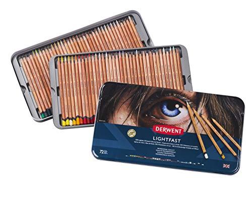Derwent Lightfast Coloured Pencils, Metal Tin, 72 Count (2302722)