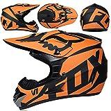 Casco Motocross Niño 5~12 Años ECE Homologado Casco Moto Integral Unisex para Moto Cross Descenso Enduro MTB Quad BMX Bicicleta (Gafas+Máscara+Guantes) con Diseño Fox -NY-01 - Mate Negro Naranja,XL