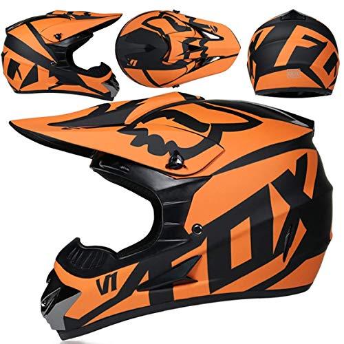 Casco Motocross Niño 5~12 Años ECE Homologado Casco Moto Integral Unisex para Moto Cross Descenso Enduro MTB Quad BMX Bicicleta (Gafas+Máscara+Guantes) con Diseño Fox -NY-01 - Mate Negro Naranja,L