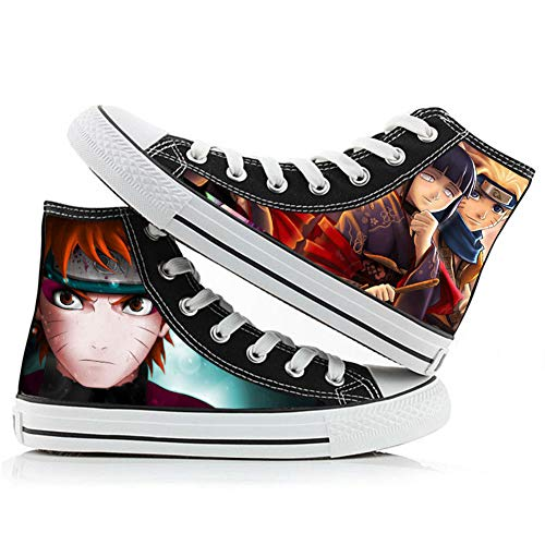 Unisex Naruto Hyūga Hinata/Uzumaki Naruto Anime Gedessineerd Canvas Schoenen Rubber Zool Casual Hoge Top Wandelen Sneakers Jongens Meisjes Flats Espadrilles