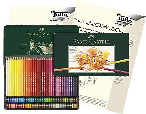 Faber-Castell - Farbstifte Polychromos, 120er Metalletui + Skizzenblöcke A4