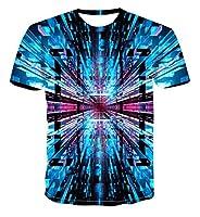 幾何学 ユニセックスメンズ 3D プリントパターン速乾性 Tシャツラウンドネック半袖夏カジュアルグラフィックトップ-L