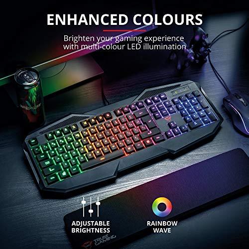 Trust GXT 830-RW Avonn Tastatur USB AZERTY Französisch Schwarz - Tastaturen (Verkabelt, USB, Membran-Schlüsselschalter, AZERTY, RGB-LED, Schwarz)
