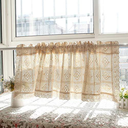 XUNMAIFLB Schiebegardinen Halbtransparent Kurze Fenster Vorhänge Türvorhänge Küche Wohnzimmer Kinderzimmer Landhausstil Häkeln Vintage Leinenvorhänge, BxH 180x90cm