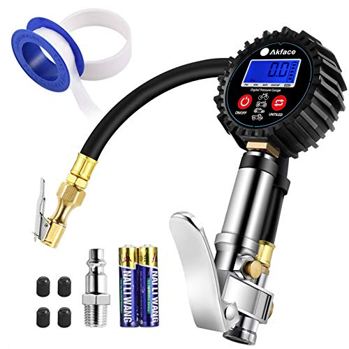 Digital Tire Pressure Gauges, Akface 250psi Heavy Duty Steel Trigger Inflator Pressure Gauge Compressor Accessories Rubber Hose Quick Connect Coupler 0.1 Display Resolution