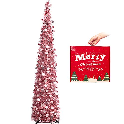 MACTING 5ft Pop up Christmas Tinsel Tree with Stand Easy-Assembly Tinsel Coastal Glittery Plump foil Sequin Christmas Tree for Holiday Xmas Decorations (Rose Gold)