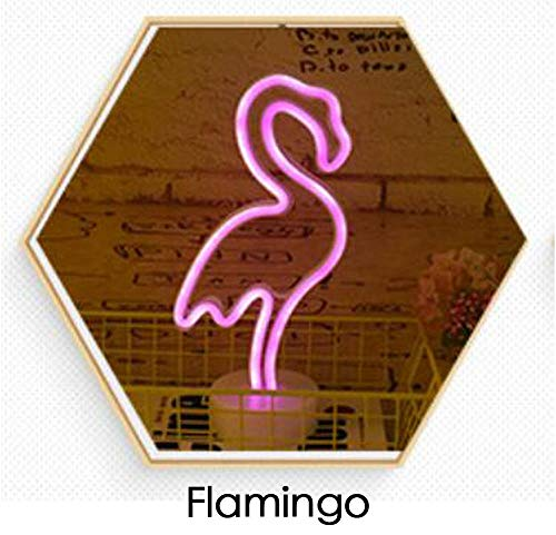 LED neon licht Kerstboom vorm nachtlampje eenhoorn flamingo met sokkel decoratieve lampjes op batterijen