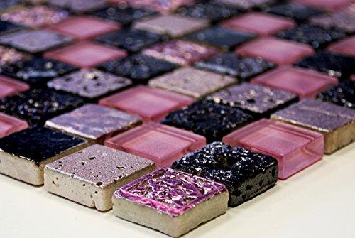 Mosaik-Netzwerk Quadrat Crystal/Stein/Resin mix pink Glas Naturstein Ornament Fliesenspiegel, Mosaikstein Format: 23x23x8 mm, Bogengröße: 60 x 100 mm, 1 Handmuster ca. 6x10 cm