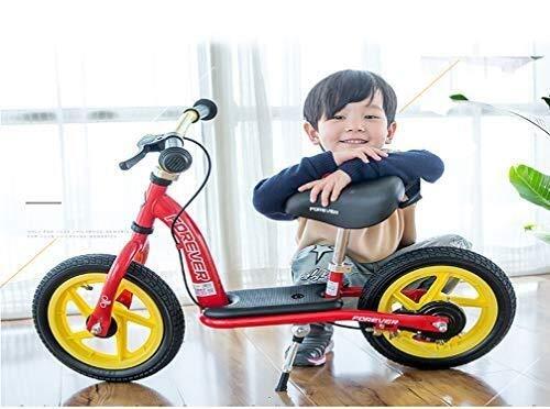 MGE con los Frenos de Balance de Bicicletas, de 12 Pulgadas sin Pedal Cuadro de Bicicleta de Acero al Carbono con Ruedas hinchables Ajustable Manillar y Asiento for niño Edad 2 a 6 años-Rojo