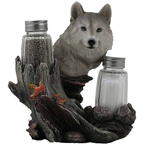 Decorative Gray Wolf Glass Salt and Pepper Shaker Set with Holder Figurine for Cabin and Rustic Lodge Restaurant Bar or Kitchen Table Decor, Wildlife Animal Collectibles & Wolves Sculptures As Gifts for Timberwolves or Wolfpack Fans by DWK
